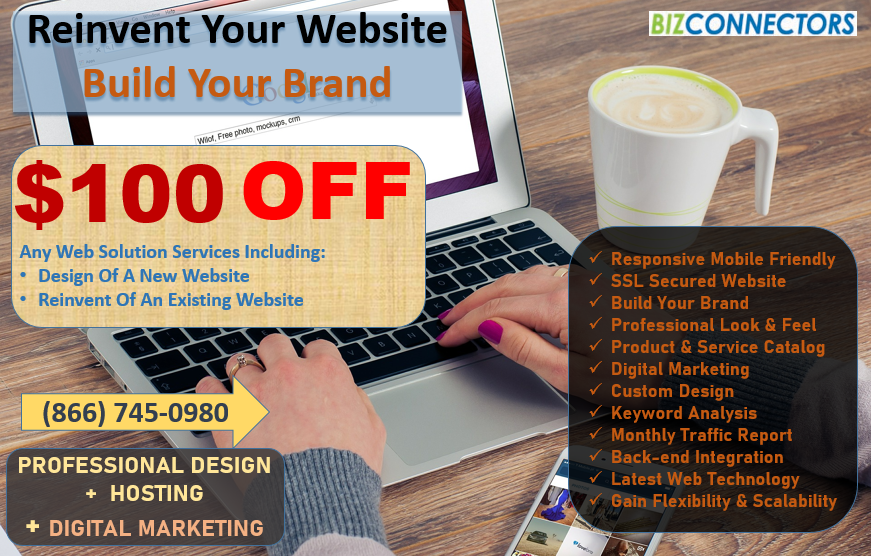 Professional Website Design, Redesign or Reinvent Your Website And Get $100 OFF Now!